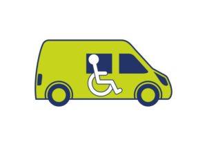 Particuliere grijs kenteken rolstoelbus met belasting voordeel