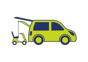 Scootmobiel lift / rolstoellift voor montage in kofferbak auto of bus