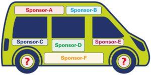 Voorbeeld van gesponsorde bus